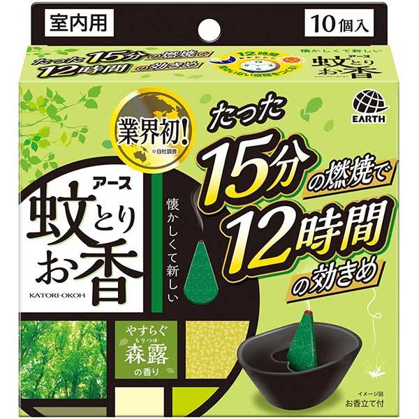 アース 蚊とりお香 蚊取り線香 森露の香り 10個入